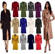 Ladies Italian Waterfall Duster Blazer Belted Jacket Outwear Women's Trench Coat