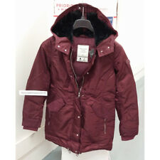 ABERCROMBIE & FITCH WOMENS SHINY PARKA PUFFER JACKET COAT BURGUNDY SIZE M,L