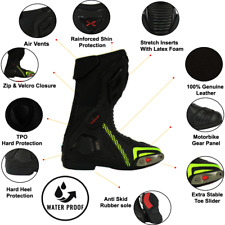 RED XTRON FULL CORE LEATHER MOTORCYCLE ADVENTURE LONG MOTORBIKE BOOTS!!!! NEW!!