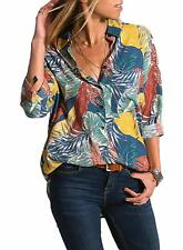 Aleumdr Womens Color Block V Neck Long Sleeve Loose Button Down Blouse Tops