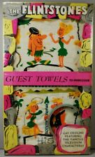 Flintstones 1961 Transogram 2 Piece Embroidery Guest Towels MIP