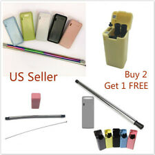 Multi-color Collapsible Reusable Stainless Steel Drinking Straws Cleaning Brush
