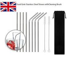 4/10x Reusable Stainless Steel Drinking Metal Straw with free Cleaner Brush Kit