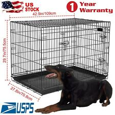"""Extra Large Dog Crate Kennel 48""""/42""""/36""""/30""""/24"""" Folding Pet Cage Metal 2 Doors"""