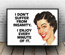 Reproduction Funny I dont suffer from insanity poster Wall art