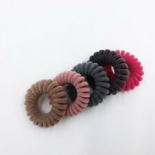 USA ship Velvet Elastic Telephone Wire Hair Ties Spiral Hair Rope ponytail Band