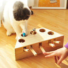 Pet Interactive Cat Teaser Toy Wooden Puzzle Box Whack A Mole Toys GIFT