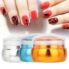 Pro Silicone Nail Art Stamper with Lid Scraper Manicure Nail Printing Tool Set