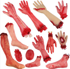 Halloween Props Fake Bloody Hand Prank Scary Severed Latex Body Parts Decor CN