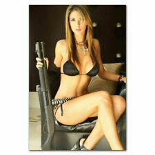 250071 Hot Sexy Model Girl with Guns Big Ass Butt Bkini WALL PRINT POSTER CA