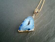 Blue Geode Slice Agate Pendant Gold Necklace Natural Healing Womens Jewelry UK