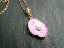 Pink Geode Slice Agate Pendant Gold Necklace Natural Healing Womens Jewelry UK