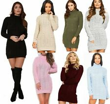 WOMENS LADIES CHUNKY CABLE KNITTED HIGH POLO ROLL NECK STRETCH JUMPER MINI DRESS