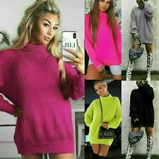 Womens Ladies Chunky Knitted High Polo Neck Jumper Dress Sweater Long Top Tunic