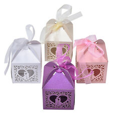 10/50/100 Pcs Love Heart Favor Ribbon Gift Box Candy Boxes Wedding Party PJBODFS