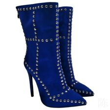 Women's High Stiletto Heel Zip Up Studded Pointed Ladies Ankle Boots Shoes Sexy