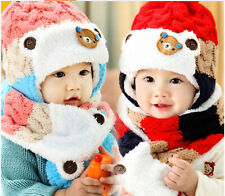 Unisex Children Winter Knitted Hat & Scarf Set for Girls & Boys Christmas gift