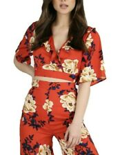Women's Red Floral Short Sleeve V-neck Wrap Ruffle Batwing Crop Top