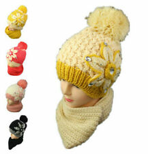 Women Winter Knitted Wool Beanie Hat Girls Scarf Set Ear Neck Warm Pom Pom 2 PC