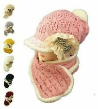 Women Winter Knitted Wool Beanie Hat Girls Scarf Set Ear Neck Warm Peak Cap 2 PC
