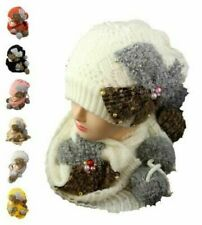 Women Winter Knitted Wool Beanie Hat Girls Scarf Set Ear Neck Warm Pom Pom 2PC