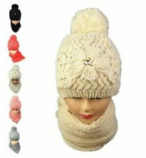 Women Winter Knitted Woolen Beanie Hat Girls Scarf Set Ear Neck Warm Pom Pom 2PC