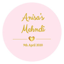 INDIAN Mehndi PERSONALISED ROUND STICKERS LABELS Wedding Celebration FAVORS D1
