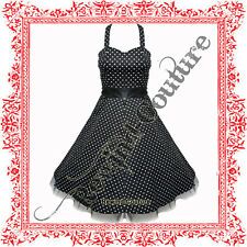BLACK POLKA DOT ROCKABILLY PIN-UP PROM SWING DRESS 8-18