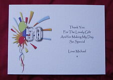 PERSONALISED BIRTHDAY THANK YOU CARDS 40TH 50TH+ 5PACK BALLOON FIZZ