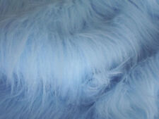 LONG Pile Fun Faux Fur Fabric Material - BABY BLUE