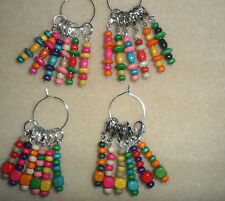 Knitting or Crochet Stitch Markers Colourful Wooden Beads Set of 6