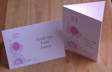 5 PACK PERSONALISED BIRTHDAY THANK YOU CARDS 16th 18th 21st 30th A6 SIZE BDAY
