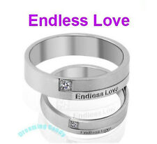 Made in Korea ENDLESS LOVE Engraved w/GEM Couple Rings Fine Stainless Steel NEW!
