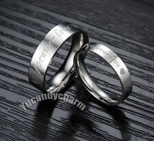 Made in Korea Engraved FOREVER LOVE & Heart Couple Rings Fine Stainless Steel