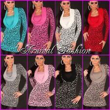 NEW WOMENS LEOPARD ANIMAL PRINT JUMPER DRESS 6 8 10 SEXY LADIES DESIGNER SWEATER