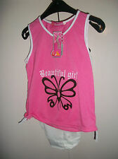 Girls stunning Foil Butterfly Print Vest Top &  Shorts Set  4-8  yrs NEW