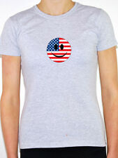 United States/Stars and Stripes Flag in Smiley Face - Womens T-Shirt