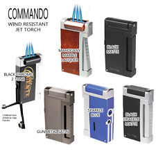 Vector KGM Commando Triple Flame Butane Torch Lighter w/ Cigar Punch -All Colors