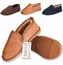 Nordvek Mens Genuine Sheepskin Slippers Suede & Hard Sole Real Sizes 6-13