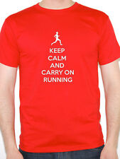 KEEP CALM AND CARRY ON RUNNING - Sports / Running / Exercise Themed Mens T-Shirt