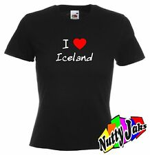 I Love Heart Iceland Ladies Fit T-Shirt