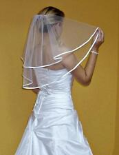 "New Women 2T White / Ivory Wedding Elbow Veil With Comb 24"" Length, Ribbon Edge"