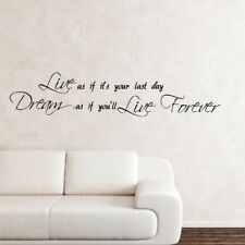 DREAM LIVE FOREVER wall quote bedroom vinyl graphic wall stickers