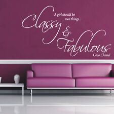 CLASSY AND FABULOUS large wall quote living room bedroom wall decals
