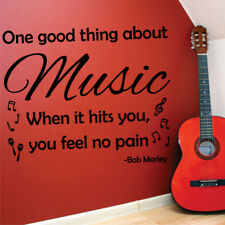 ONE GOOD THING ABOUT MUSIC wall quote living room bedroom decals