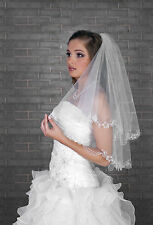 """New 2T White Ivory Wedding Bridal Elbow Veil Length 28""""- Lace Edge & Crystals"""