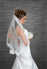 New 1 Tier Ivory / White Wedding Bridal Elbow Veil With Comb & Lace Edge 32""