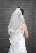 """New 2 Tier Ivory White Wedding Bridal Elbow Veil Length 32"""", Lace Edge & Pearls"""