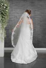 """New White Ivory Wedding Bridal Lace Edge 1 Tier Veil Knee Length 70"""" with Comb"""