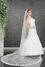 NEW White / Ivory Wedding Bridal 1 Tier Cathedral Veil with Lace Edge & Comb